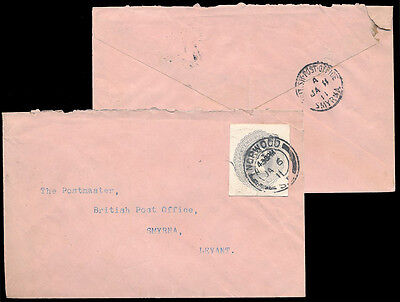 GB QV POSTAL STATIONERY CUTOUT 2 1/2d USED to SMYRNA LEVANT 1911