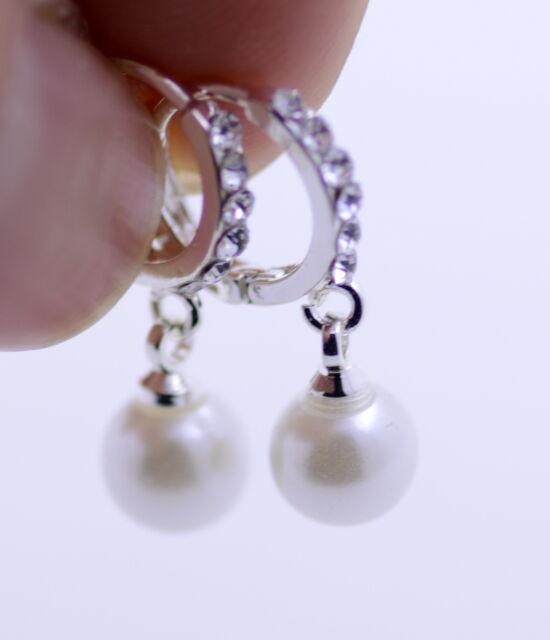 Silver Tone Hanging Pearl Hoop Earrings Like Diamond Ring
