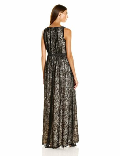Adrianna Papell Black Nude floral lace gown with satin waist NWT Many Sizes