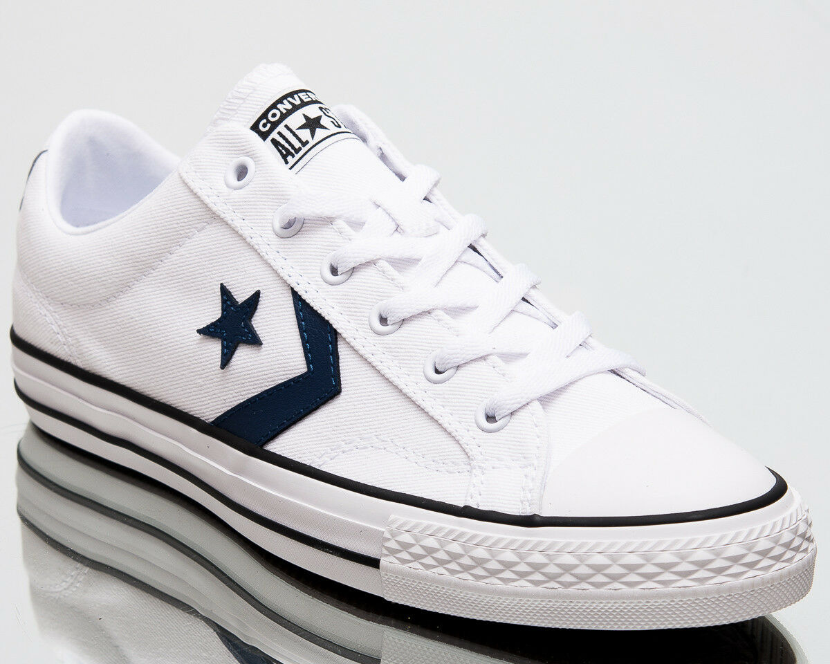 Converse Star Player Ox Summer Twill Men Shoes Mens Sneakers White Navy 160558C