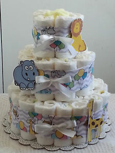 3 Tier Circus Zoo Lavender Chevron Diaper Cake Baby Shower