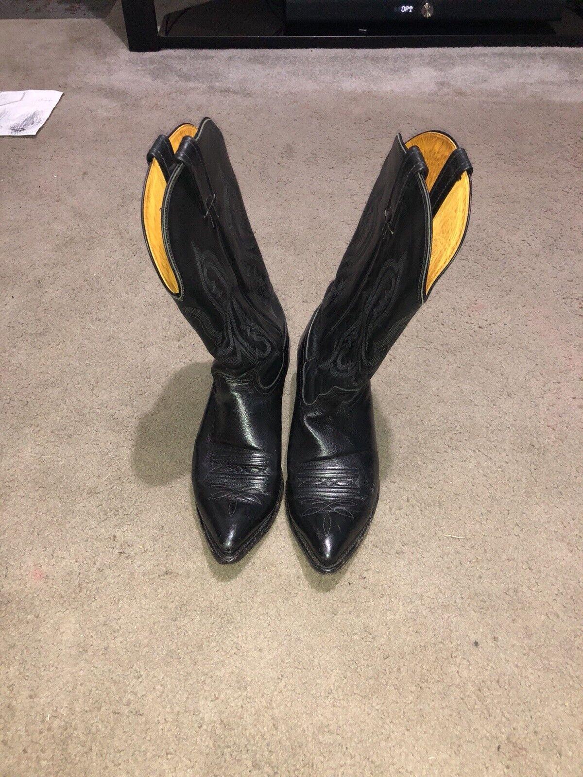 Negro Nocona botas 11 1 2 B-adulto poseído y bien mantenido Cuero de vaca completo