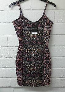 Womens-Ladies-New-Sleeveless-Black-Floral-Autumn-Bodycon-Fitted-Dress-Size8-14