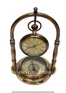 Antique-Desk-Clock-Victoria-London-Brass-Table-Desk-Clock-With-Brass-Compass