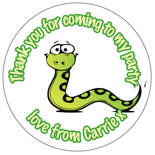 35x Personalised Creepy Crawly Fun Snake Birthday Stickers Party Thank You N332