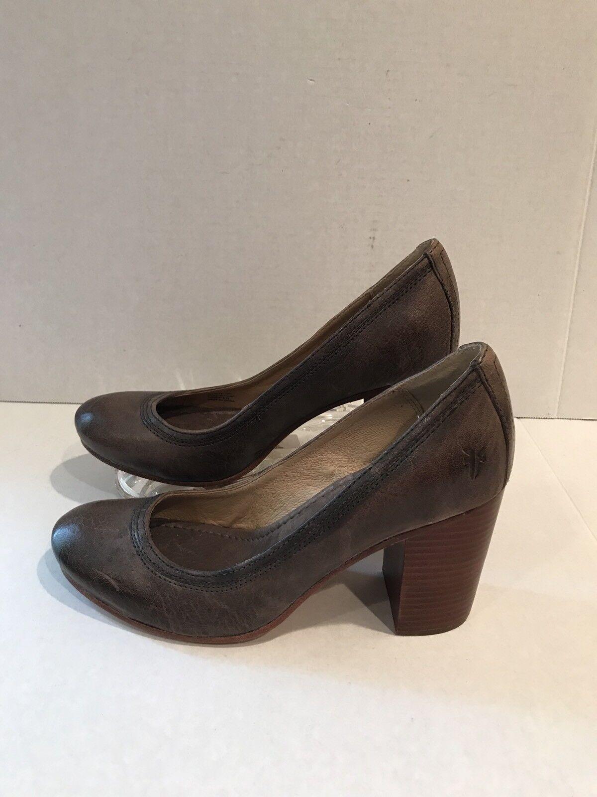 Frye Carson Pumps Gray Rustic Cognac Leder Block Heels Damenschuhe Schuhes Größe 10