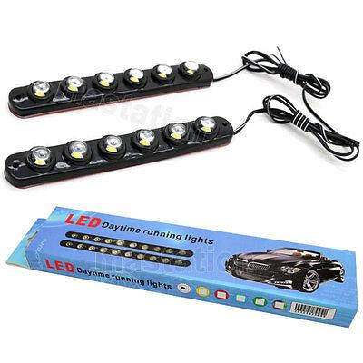 2x LED 6 Soft Strip Daytime Running Light DRL Auto Car Eagle Eye Fog Lamp 12V A