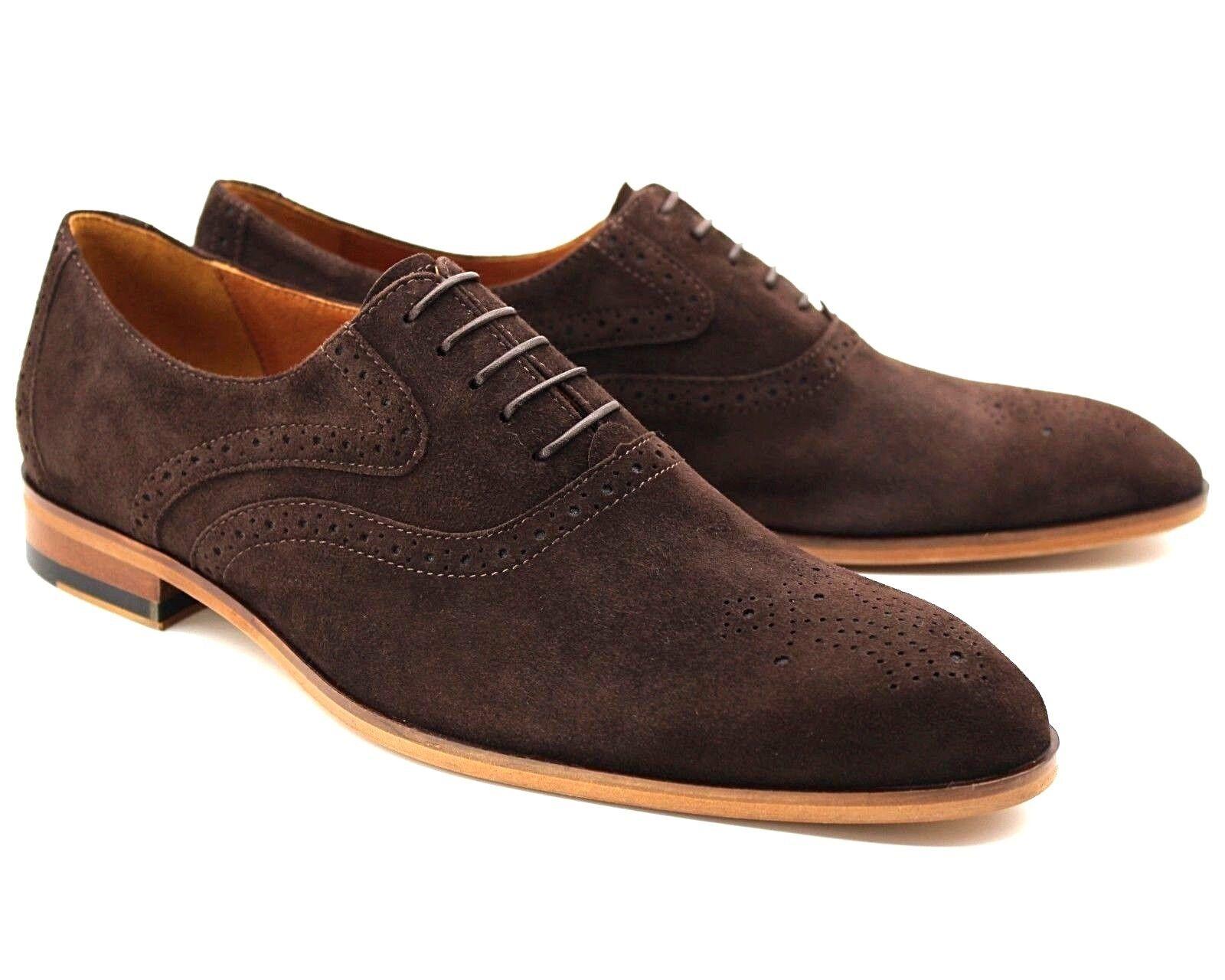 231K UK 7 Homme Neuf Marron Chocolat Lacets Décontractées Chaussures Italiennes En Daim EU 41