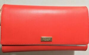 d0a392005c31 Details about NWT Kate Spade Alexander Avenue Smooth Leather Travel Wallet  Pomelo Red WLRU4661
