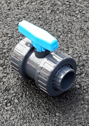 """PVC Double Union Ball Valve Pipe Fitting Ducting Imperial 1//2/"""" to 4/"""" Garden Pond"""