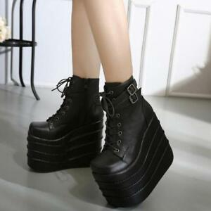 7d2ce54b6e1 Womens High Wedge Heels Platform Lace Up Ankle Boots Cosplay Punk ...