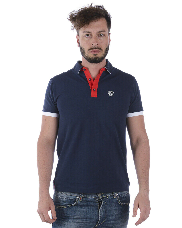 Polo Emporio Armani EA7 Polo Shirt Cotone Uomo Blu 3ZPF58PJ04Z 1554