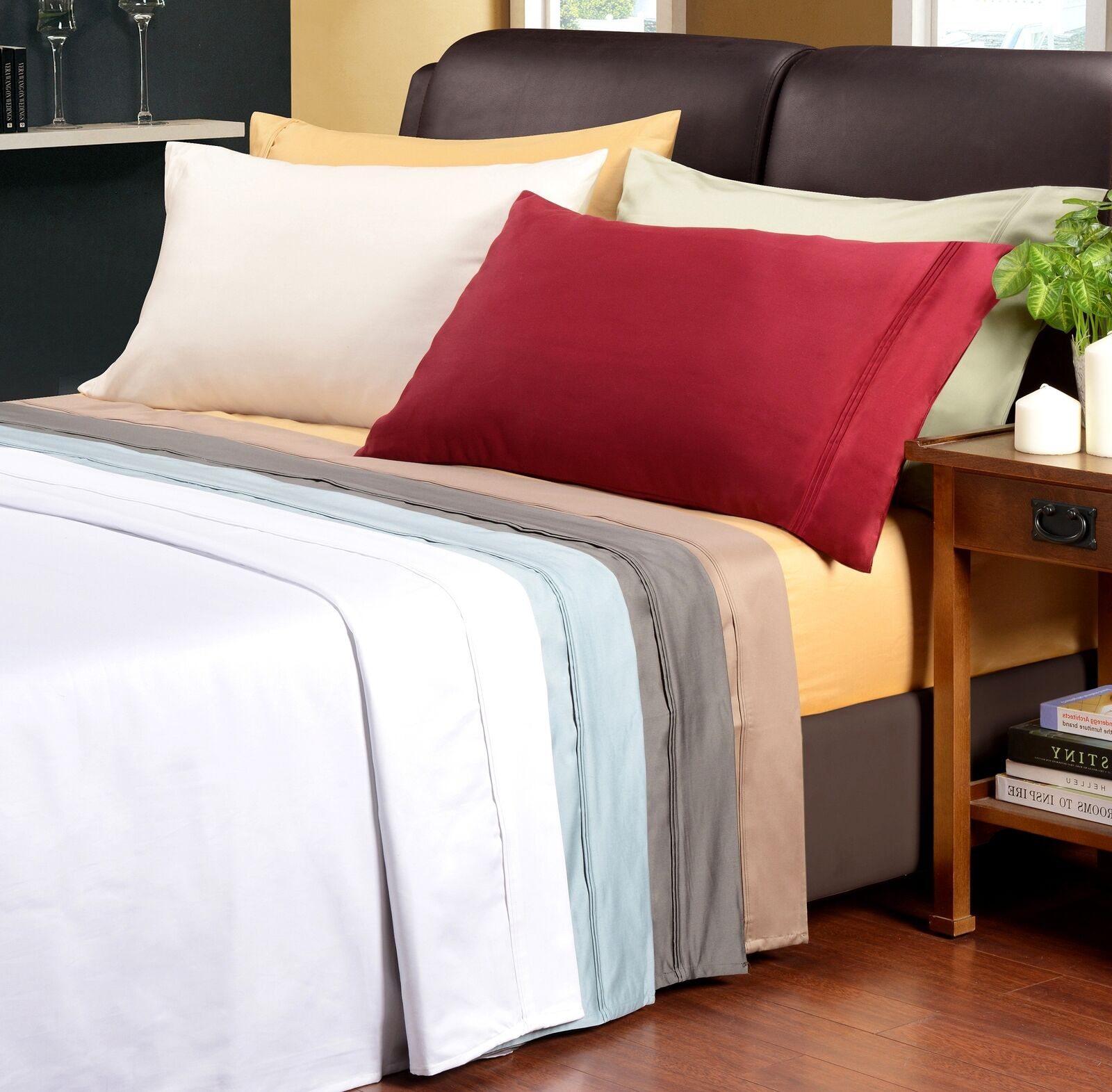 Luxurious 1500-Thread-Count Sheet Set, 100% Egyptian Cotton, 9 Colorees