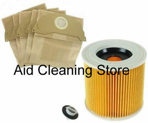 Karcher-A2004-A2054-A2024-Wet-amp-Dry-Vacuum-Cleaner-Filter-amp-5-Dust-Bags