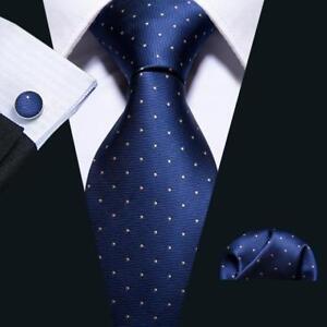 USA-Navy-Blue-Tie-Set-Silk-Men-039-s-Jacquard-Woven-Polka-Dots-Necktie-Wedding-Party