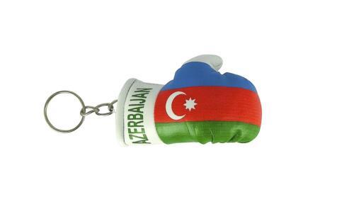 Schlüsselanhänger keyring flagge flaggen Boxhandschuhe Aserbaidschan