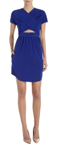 F38 Shift Blue Dress Carven Royal 10 Stretch Cutout Uk 4PwYq