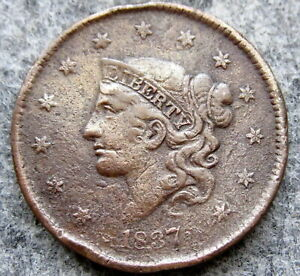 UNITED STATES 1837 ONE CENT, LIBERTY HEAD MATRON HEAD MODIFIED