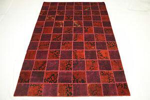 Tapis-d-039-orient-Vintage-Patchwork-Used-Look-300x200-moderne-rouge-noue-a-la-main