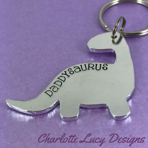 Daddysaurus hand stamped Dinosaur keyring father/'s day gift dad daddy