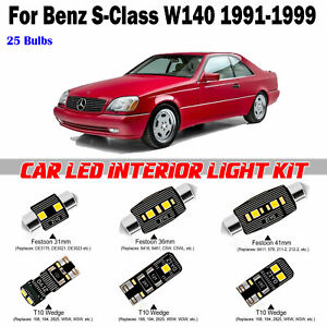 25pcs Xenon White LED Bulbs Interior Light Kit For Benz S-Class W140 1991-1999