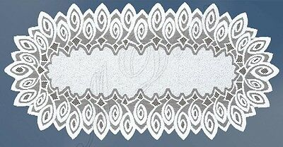 floral 24x 47 M-Decor Oval white,lace table runner NEW 60cm x 120cm
