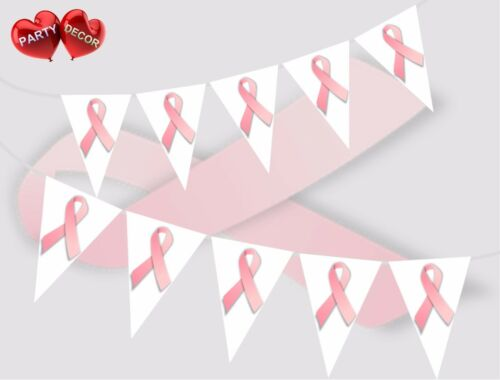 Cancer Support Pink Ribbon Theme Bunting Banner Party Decoration by PARTY DECOR