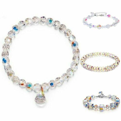 "Aurora Borealis Bracelet with Austria Crystals 18K White Gold Adjustable 7/""-9/"""