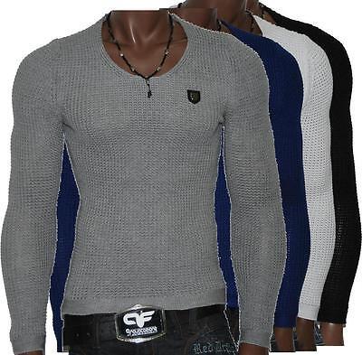 Redbridge por Cipo Baxx Pulóver Tejido Mens Suéter Ajustado Camiseta R-31502