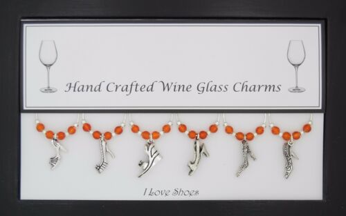 I Love Shoes Set of 6 Wine Glass Charms Handmade Just for You