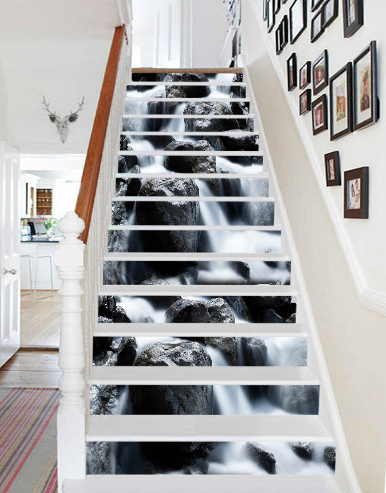 3D Baches Steine 24 Stair Risers Dekoration Fototapete Vinyl Aufkleber Tapete DE