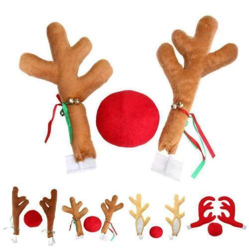 Reindeer Christmas Decorations Car Horn Costume Set HOT Red Rudolf Nose Ant O5M5