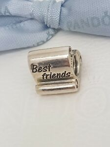 Authentic-Pandora-Sterling-Silver-Best-Friends-Scroll-Charm-790512-Retired