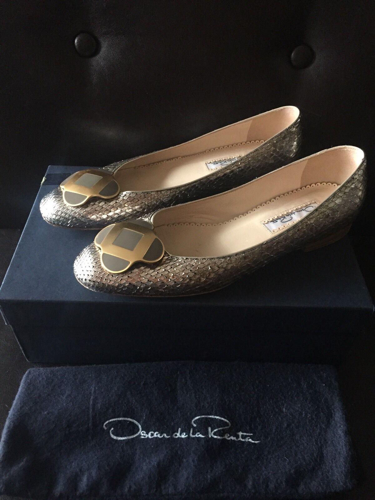 Oscar de Snakeskin la Renta Snakeskin de Ballet Flat Shoes 2688dd