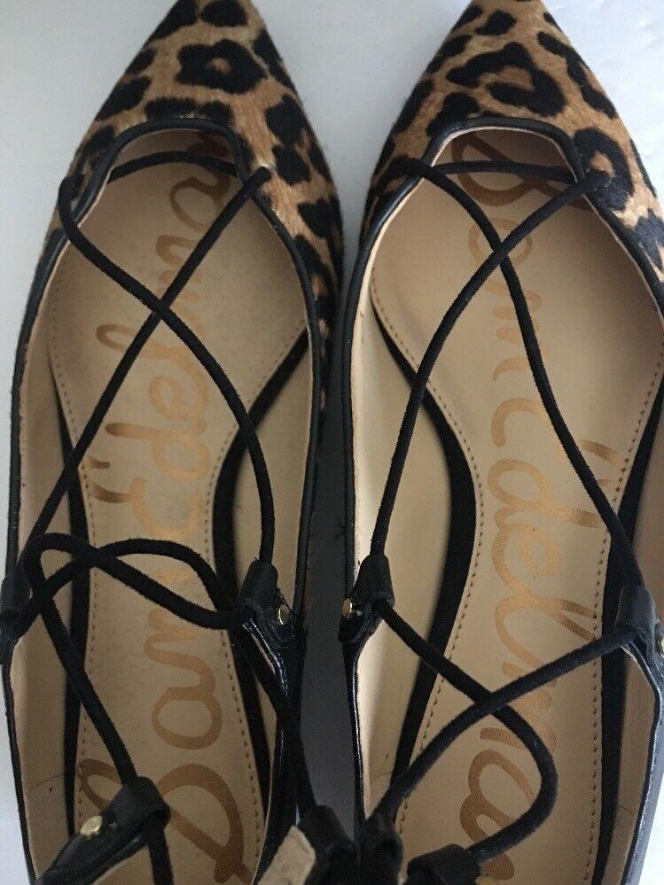 SAM EDELMAN Rosie, Leopard Flat Brahma Slingback Lace Up Flat Leopard Schuhes Damenschuhe 7.0 1cd486