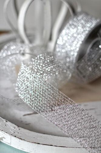(0,55€/m)  Dekoband Silbergitter 40mm Silber Lurex Tischband Hochzeit Kranzband