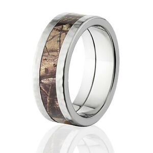 Official Licensed RealTree AP Camo Hammered Titanium Rings Camo