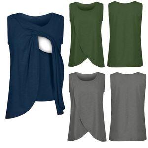 Women-Maternity-Nursing-Wrap-Top-Cap-Sleeveless-Double-Layer-Blouse-T-Shirt-Vest