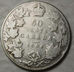 Canada-1906-Silver-50-Cents-Old-Date-King-Edward-VII