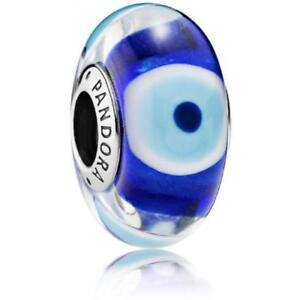 Authentic PANDORA Murano Evil Eye Charm Dark Blue Turquoise Transparent 791661