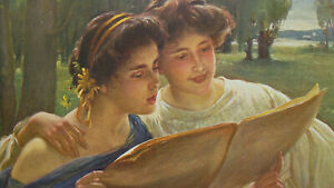 YOUNG-LADIES-SInging-Song-of-Spring-1904-COLOR-Art-Nouveu-Era-Print