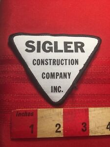 Vintage-Sigler-CONSTRUCTION-COMPANY-INC-Triangle-Publicite-patch-81E5