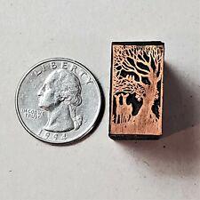 Vintage Copper Amp Wood Letterpress Print Block Stamp Deer In Trees Pb49
