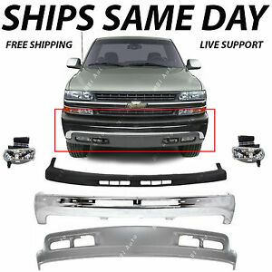 NEW Complete Front Bumper Kit W Fog Lights For 1999 2002 Chevy