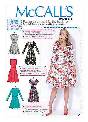 McCalls M7313 Learn to Sew for Fun PATTERN Misses/Womens Dresses 8 - 24W BN