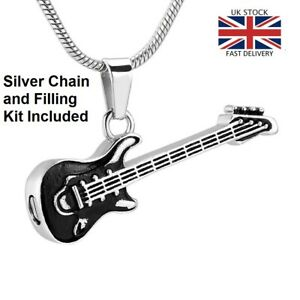 Guitar-Cremation-Urn-Pendant-Ashes-Necklace-Funeral-Memorial-Keepsake-UK