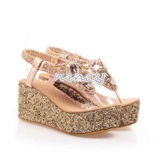 Womens Rhinestone Glitter Sequins  Wedge Heels Thong Sandals Slingback Shoes New