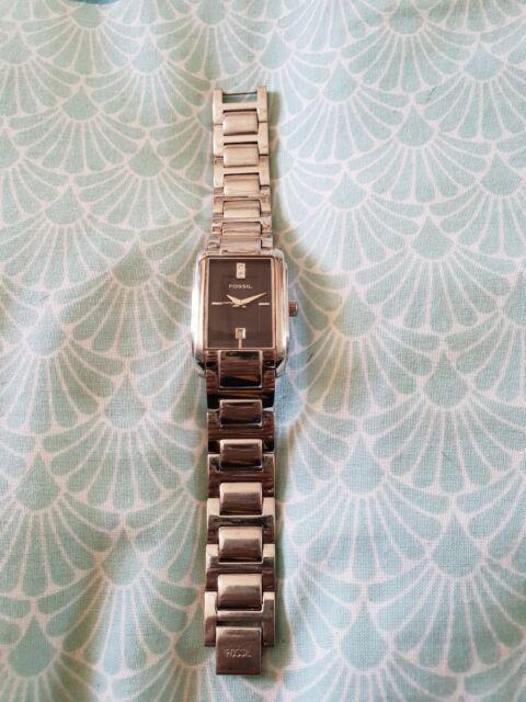 FOSSIL Silver Link Watch Black Diamond Square B54