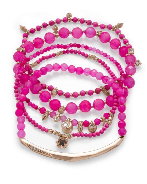 c125b5ca67396 Kendra Scott Gold Supak Pink Agate Beaded Bracelets Set 5 Stretch