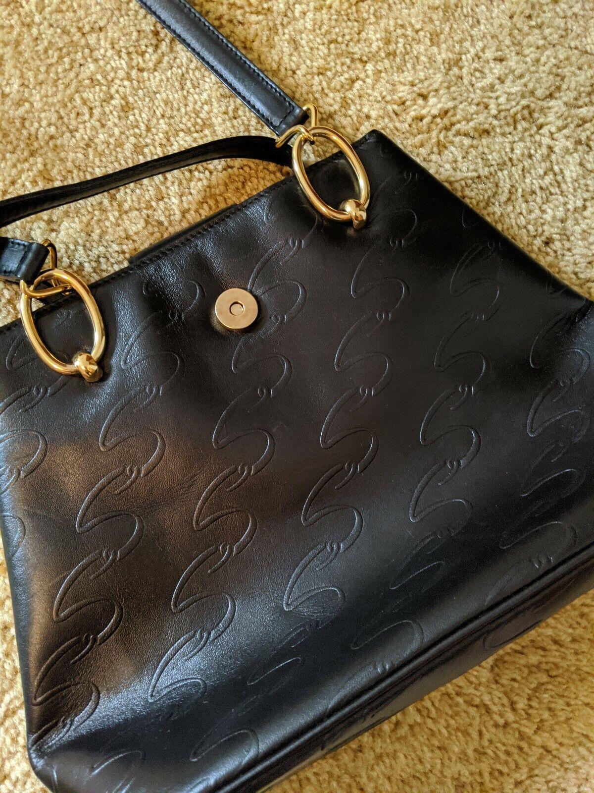 Vintage Arnold Scaasi Purse Italian Leather Black… - image 5